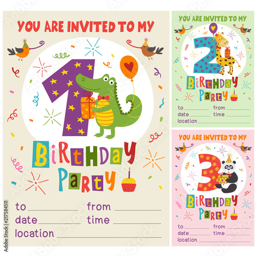 Happy Birthday Invitation Card Template With Funny Animals From 1 To