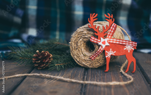 blue woolen plaid and old fashioned christmas decorations