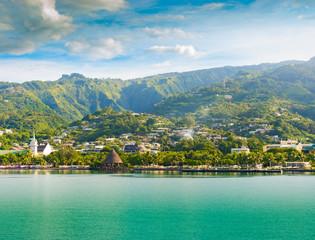 Fototapete - Tahiti, Papeete landscape.