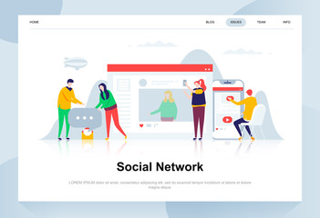 Social network modern flat design concept. Communication and people concept. Landing page template. Conceptual flat vector illustration for web page, website and mobile website.