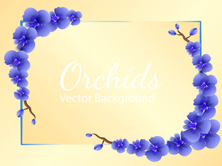 Two branches of blue orchid flowers. Frame/ Space for text. Vector illustration