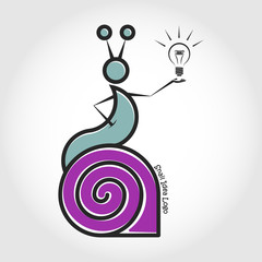 The snail left the shell. Idea. Vector logo.
