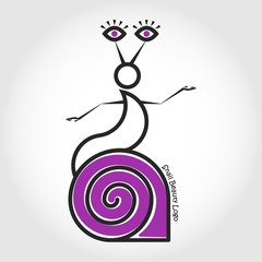 The snail left the shell. Beauty. Vector logo.