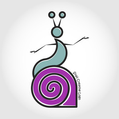 The snail left the shell. Vector logo.