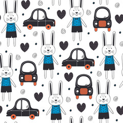seamless pattern with rabbit boy and car in Scandinavian style - vector illustration, eps