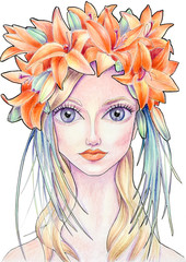 The girl with flower wreath in color (23)