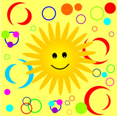 Happy Smiling Sun Pattern. Vector graphic background.