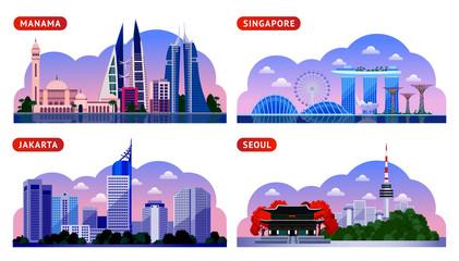 Singapore, Seoul, Jakarta, Manama. Bahrain, South Korea and Indonesia. Horizontal panoramic night view. Travel to Asia. Set of vector flat illustration