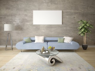 Mock up a stylish living room with a perfect sofa and a large natural vase.