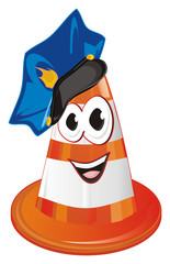 cone, traffic cone, road cone, road safety cone, orange traffic cone, orange cone, face, smile, police