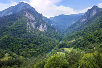 Blue mountains landscape. View of deep canyon in Montenegro
