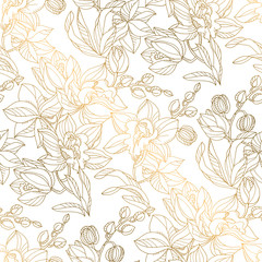 Luxury elegant orchid floral seamless pattern
