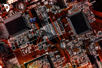computers circuit-board showing chips, transistors and resistors