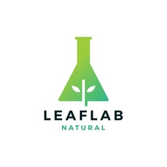 leaf lab nature logo vector icon illustration