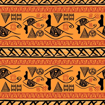 Seamless striped pattern egyptian theme with ethnic and tribal motifs. Vintage retro drawing for textile print vector illustration.
