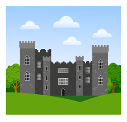 Malahide castle in Ireland. Travel. Vector flat illustration