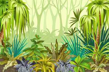 Background jungle for video and web design, online games, print, magazines, newspapers, books and posters. Vector illustration.