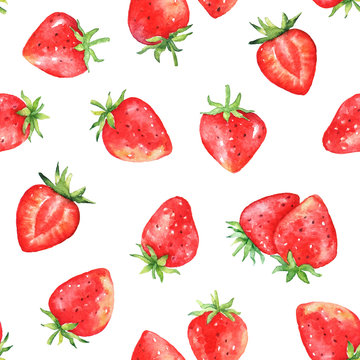 Seamless pattern with watercolor strawberries on white background.