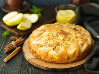 Big Apple pie, charlotte on dark brown-blue wooden table, side view