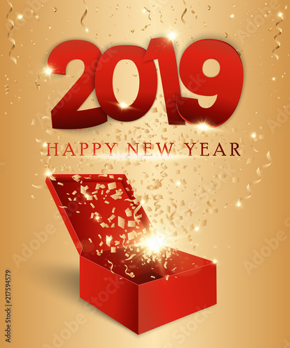 happy new year red numbers the design of a greeting card golden light pattern
