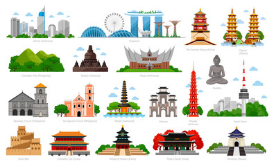 Travel to Asia. Singapore, Indonesia, China and South Korea, Taiwan, Vietnam. Big collection of famous landmarks. Cityscape, buildings and attractions. Vector flat illustration Wall mural