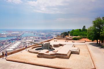 guns on walls of Montjuic Castle of Barcelona, Spain Fototapete