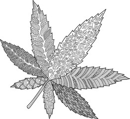 Coloring book page with decorative cannabis leaf