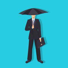 businessman holding umbrella rain business protection concept male cartoon character full length flat blue background vector illustration