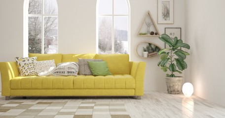 White room with yellow sofa and winter landscape in window. Scandinavian interior design. 3D illustration
