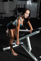 Woman trains in the gym. Athletic woman trains with dumbbells, pumping his biceps