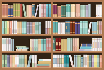 Bookshelves full of books. Education library and bookstore concept. Seamless pattern. Vector illustration.