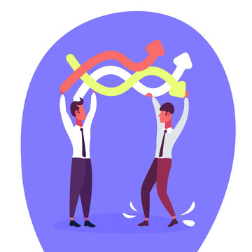 Two businessmen holding curved colorful lines arrows