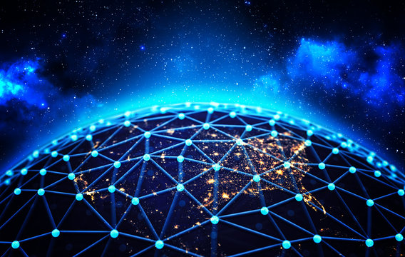Global network connections and business communications concept, connected lines around the Earth globe on deep blue space background