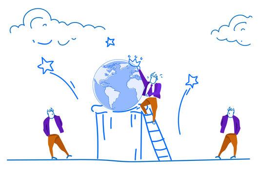Businessman climbing ladder world map globe wearing