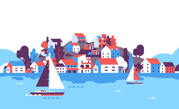boats over beach seaside island houses hotels background sea yacht coast summer vacation concept flat horizontal vector illustration