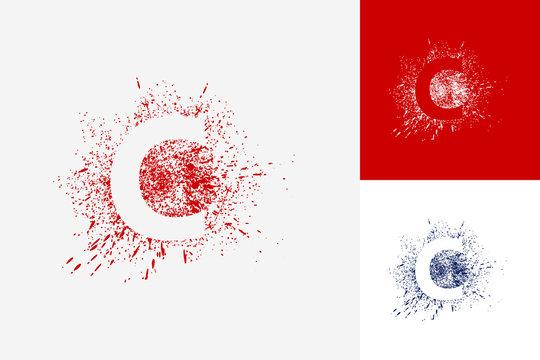 Letter C Splash Grunge Logo Template Design Vector, Emblem, Design Concept, Creative Symbol, Icon