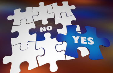Yes Vs No Positive or Negative Answer Puzzle Words 3d Illustration