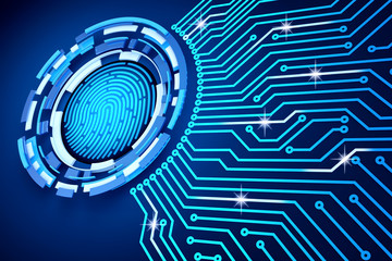 Electronic access security system and data protection technology concept, printed circuit board (pcb) around the fingerprint icon on a blue background