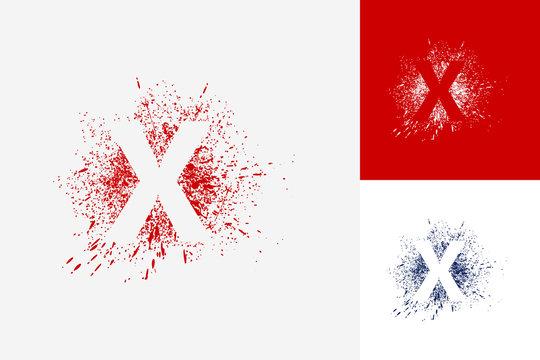 Letter X Splash Grunge Logo Template Design Vector, Emblem, Design Concept, Creative Symbol, Icon