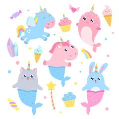Cute unicorn, pegasus, narwhal, mermaid cat, bunny and magical items vector illustration.