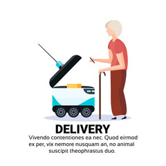 old woman stick loading box robot self drive fast delivery goods in city car robotic carry concept isolated copy space flat vector illustration
