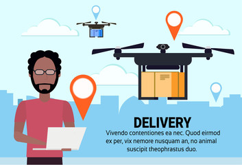 african man operator drone flying geo tag delivery air package shipment carry quadrocopter navigation application cityscape horizontal flat copy space vector illustration
