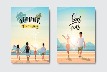 set man woman couple holding hands looking sunrise rear view summer vacation beach badge Design Label. lettering for logo,Templates, invitation, greeting card, prints and posters. vector illustration