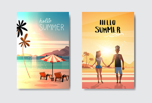 set man woman couple holding hands looking sunset rear view umbrella loungers beach badge Design Label. vacation lettering for logo,Templates, invitation, greeting card, prints and posters. vector