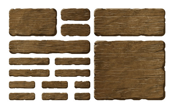 Set of wooden panels