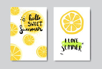 set hello summer lemon badge Isolated Typographic Design Label. Season Holidays lettering for logo,Templates, invitation, greeting card, prints and posters. vector illustration