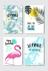 set enjoy summer flamingo badge Isolated Typographic Design Label. Season Holidays lettering for logo,Templates, invitation, greeting card, prints and posters. vector illustration