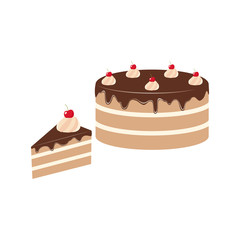 Chocolate cake clipart cartoon. Chocolate glazed cake and a piece of cake with