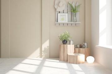 Green empty room. Scandinavian interior design. 3D illustration
