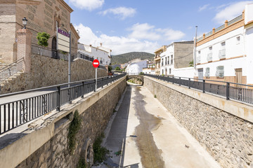 a view of Hueneja town and the Izfalada river, province of Granada, Andalusia, Spain